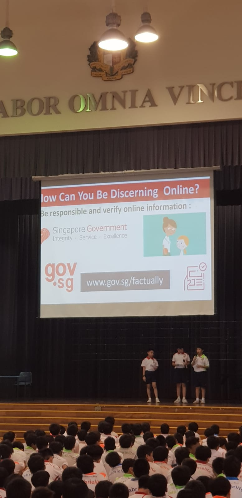 Our Cyber Wellness Student Ambassadors sharing at school assembly on how to be discerning online..jpeg