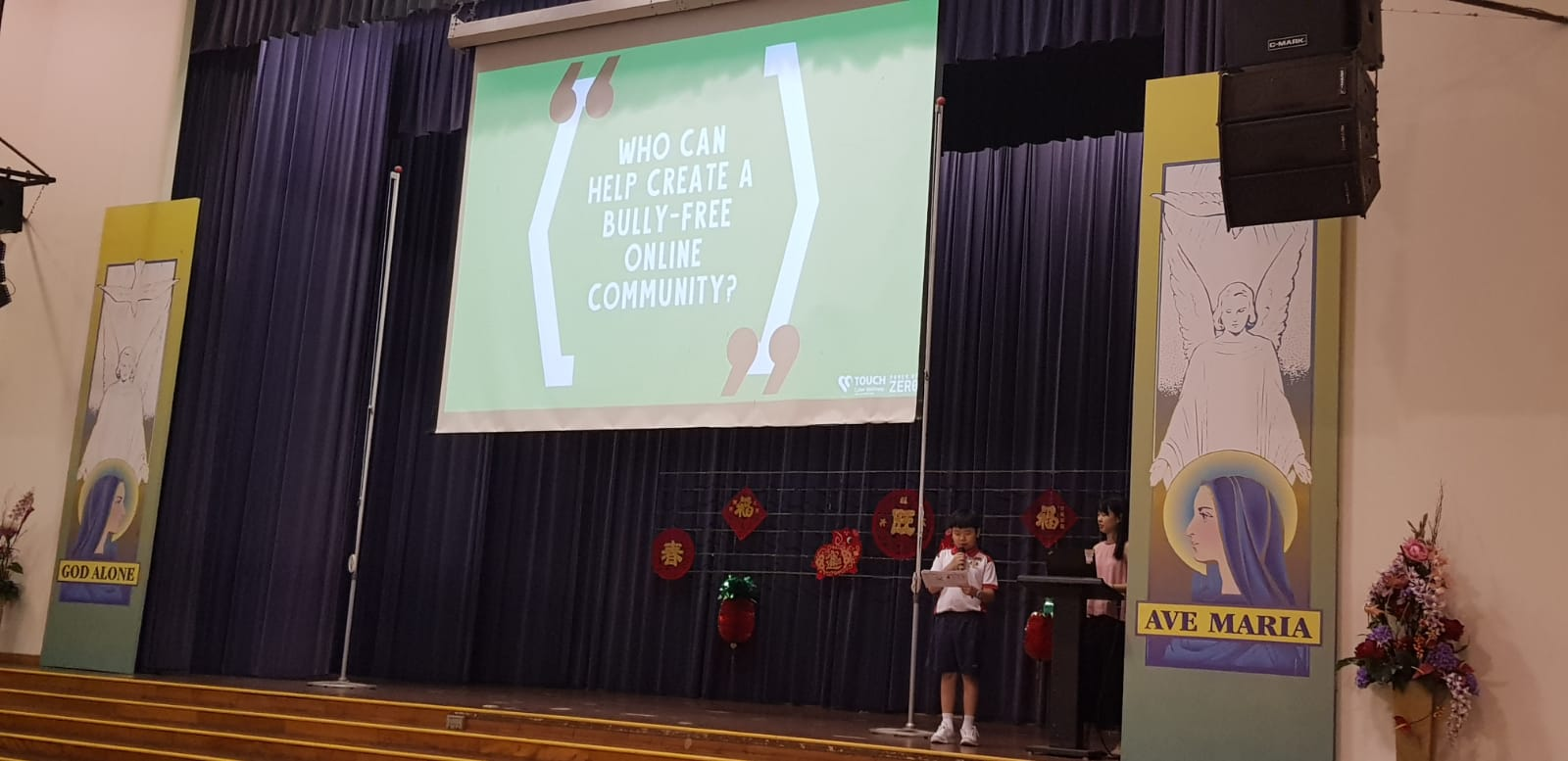 Our Cyberwellness Student Ambassadors sharing at school assembly on the topic of Cyberbullying..jpeg